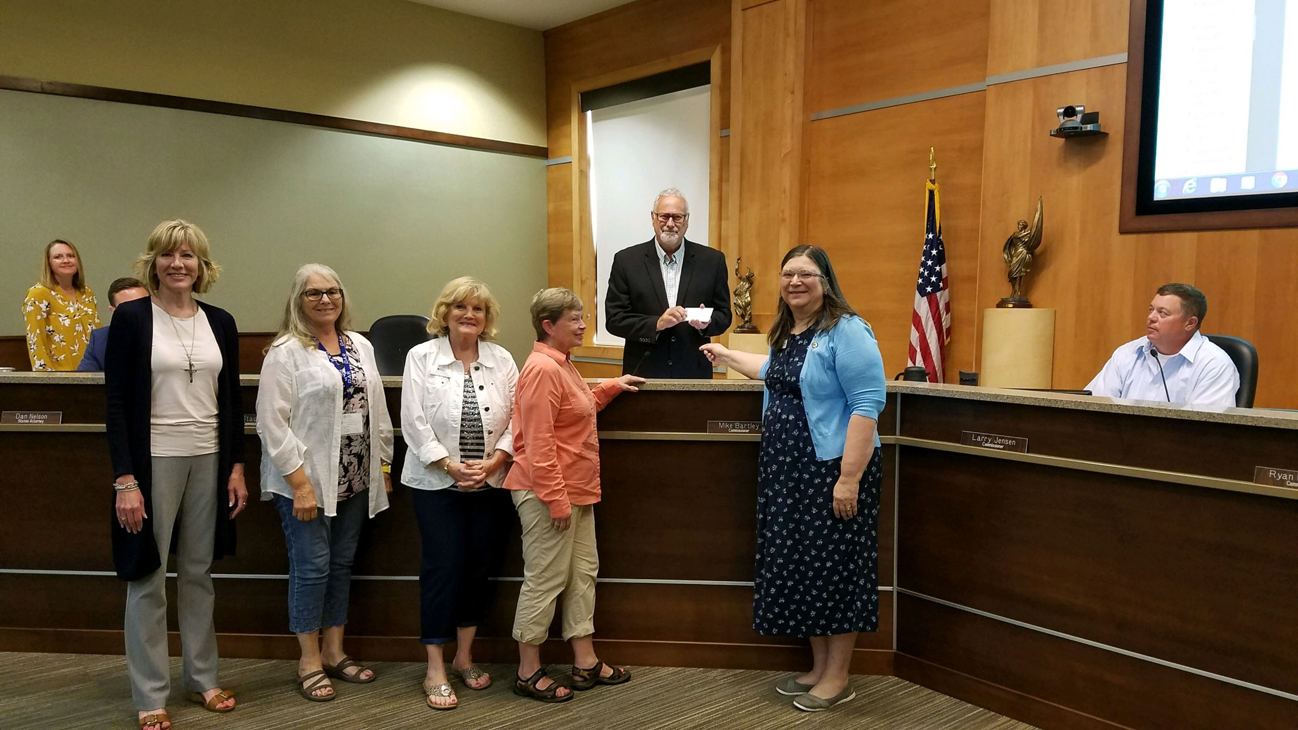Picture of Daughters of the American Revolution Check Presentation to Brookings County Commissioners